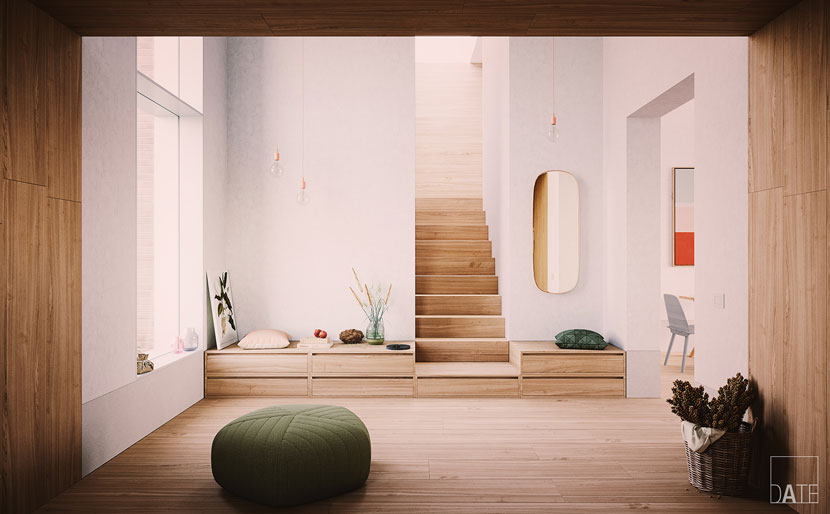 modern room with stairs and benches to the sides