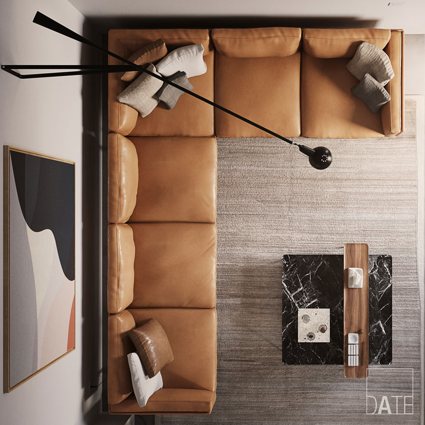 Overhead shot of rendered leather couch
