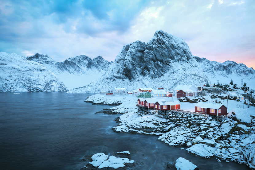 Lofoten Island - Cabins on snowy Mountains